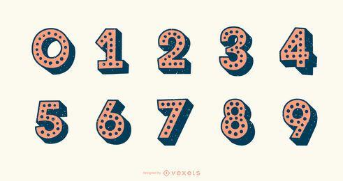Conjunto de vetores de número de alfabeto pontilhado 3D