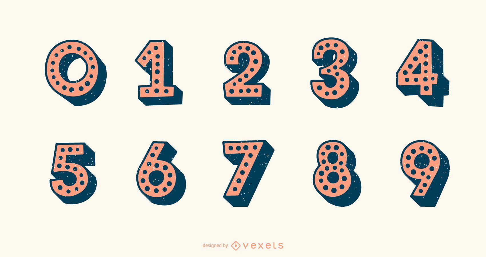 Conjunto de vectores de números de alfabeto punteado 3D