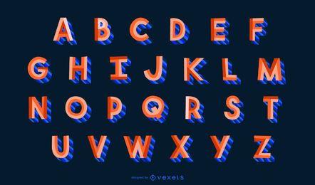 Conjunto de letras do alfabeto estilo plano 3D