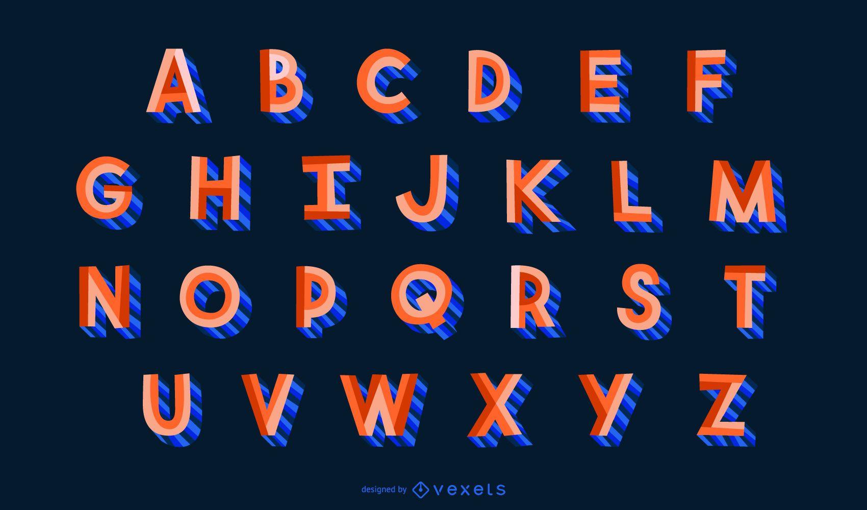 Conjunto de letras del alfabeto de estilo plano 3D