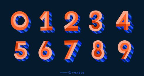 3D Flat Style Alphabet Number Set