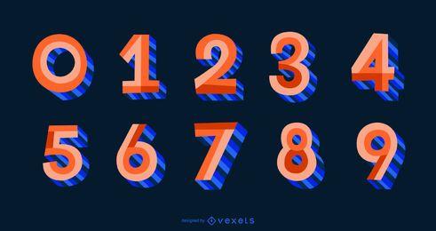 Conjunto de números de alfabeto de estilo plano 3D