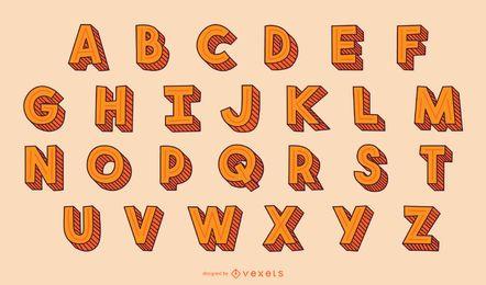 Conjunto de letras del alfabeto de trazos 3D