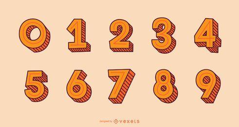 Conjunto de números de alfabeto de estilo de trazo 3D