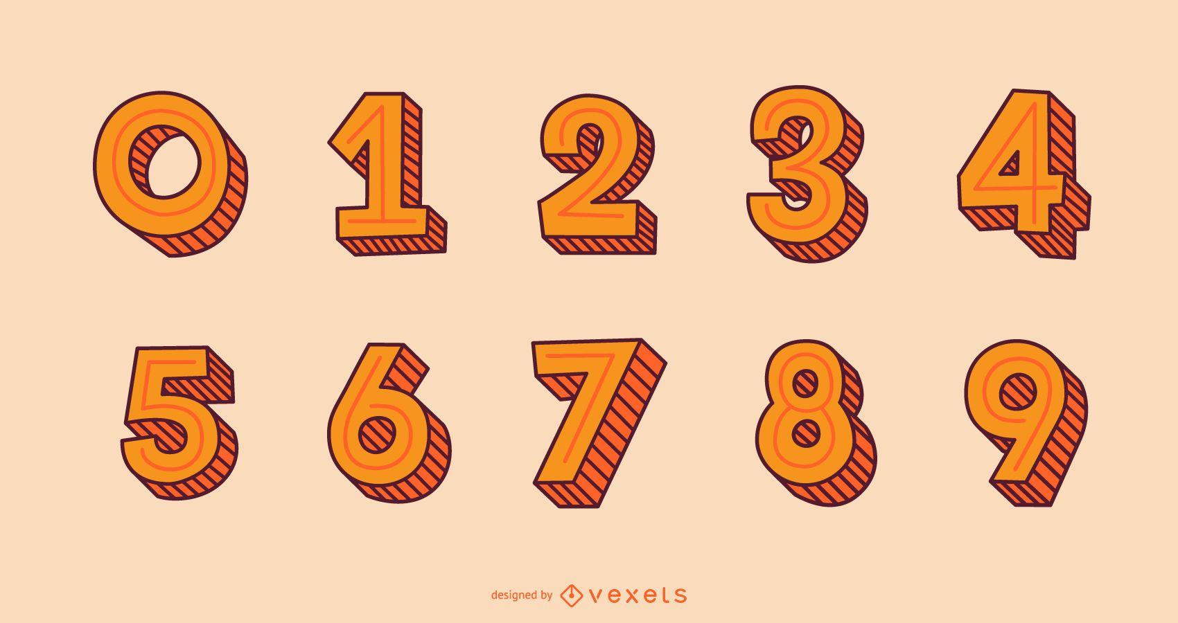 Conjunto de números do alfabeto de estilo de traço 3D