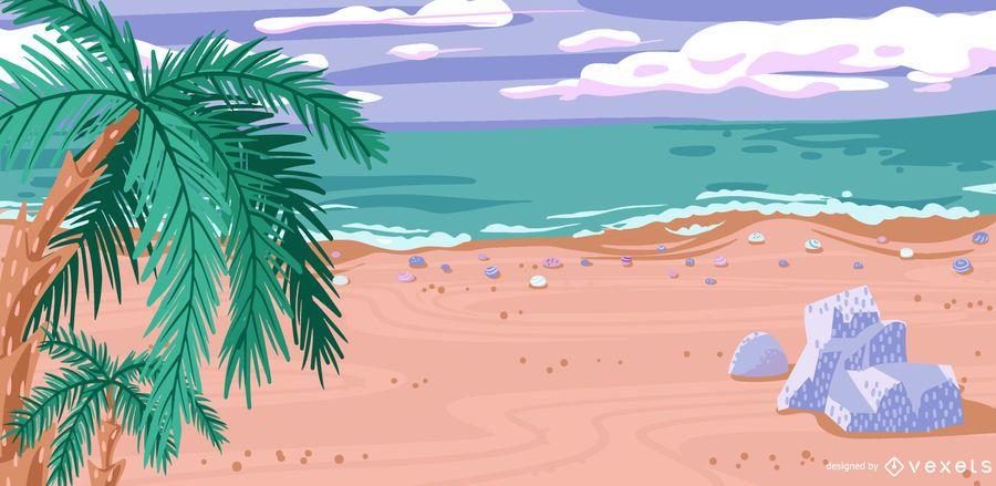 Tropical Beach Shore Vector Illustration