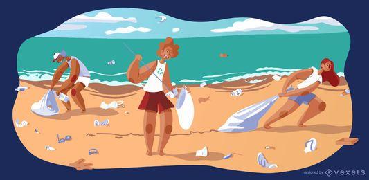 Ilustração em vetor praia reciclando pessoas