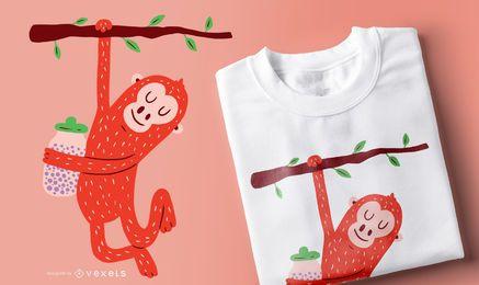 Diseño de camiseta de bebé orangután