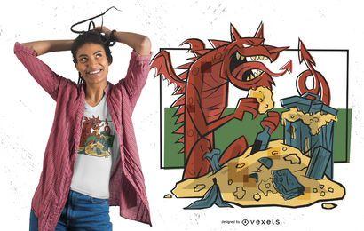 Projeto do t-shirt do dragão do tesouro