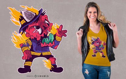 Projeto do t-shirt dos desenhos animados do sapador-bombeiro do zombi