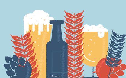 Fundo de vetor de elementos de cerveja