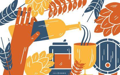 Ilustração em vetor elementos cerveja