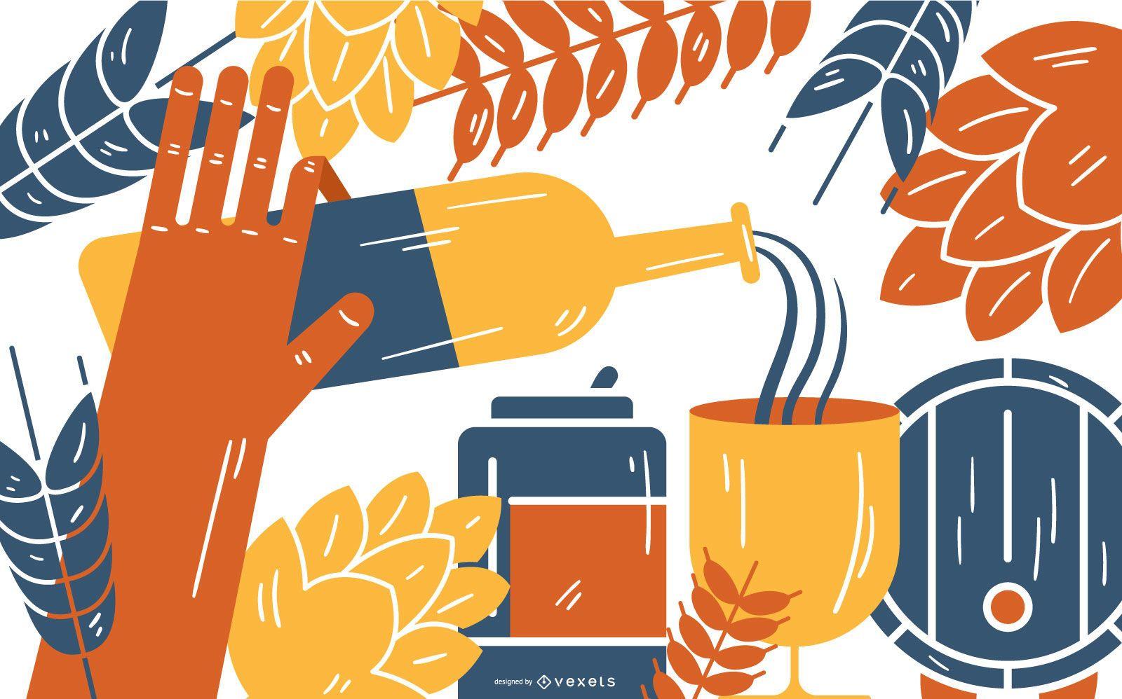 Beer Elements Vector Illustration