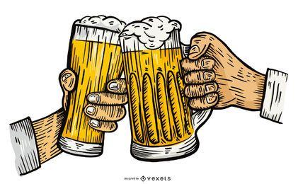 Ilustração em vetor brinde cerveja