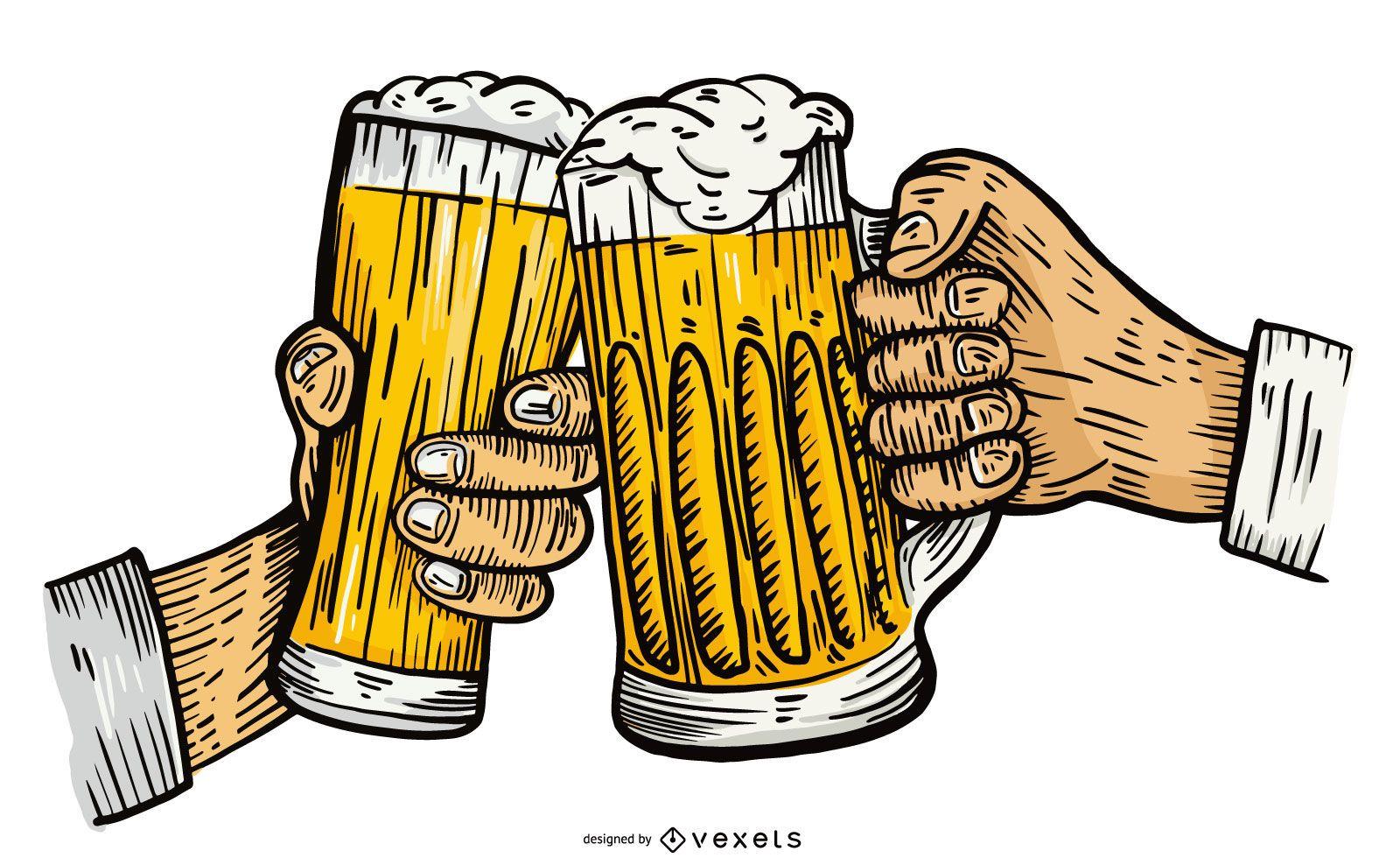 Ilustração vetorial de torradas de cerveja