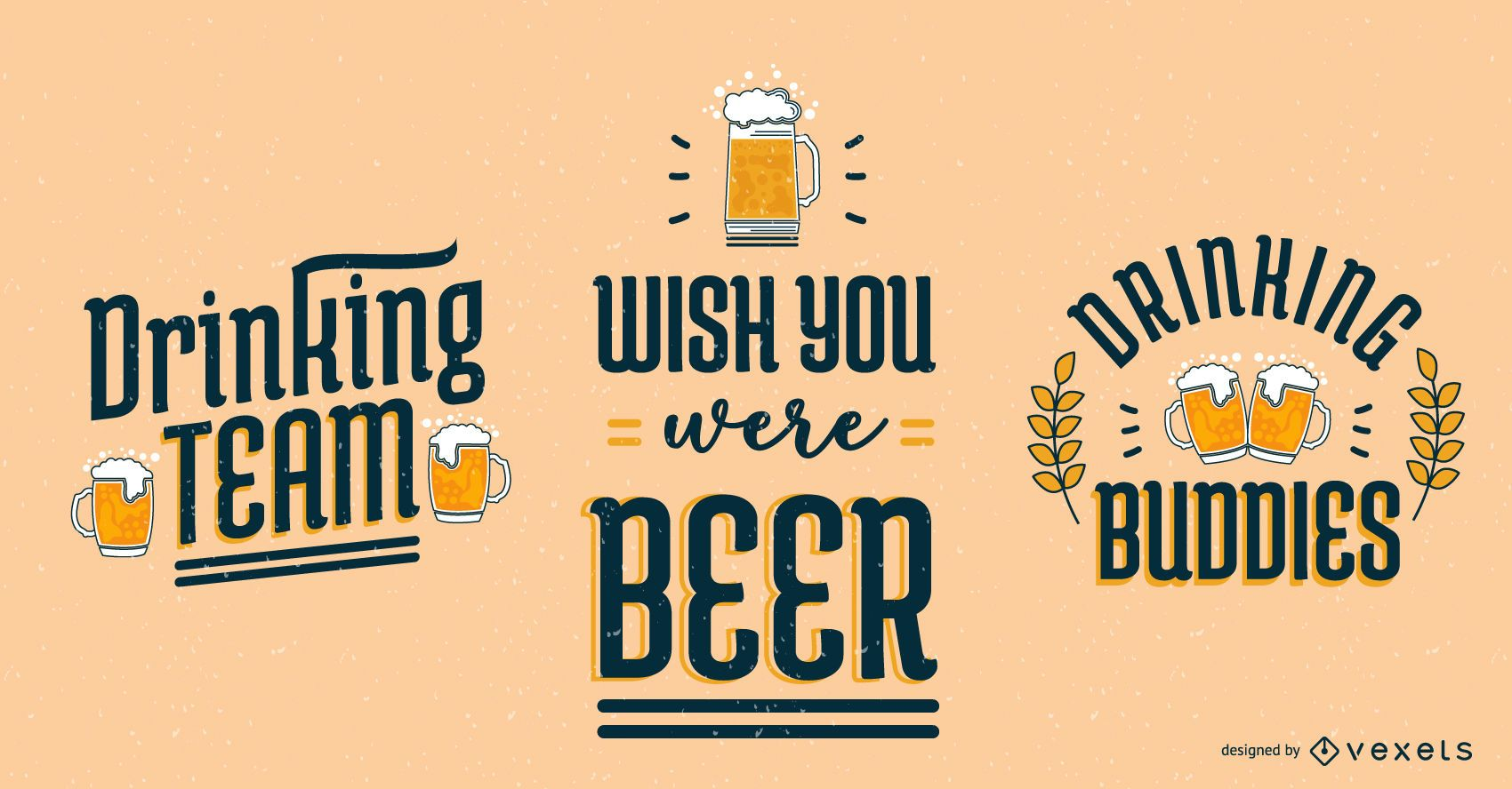Oktoberfest Bier Schriftzug Set