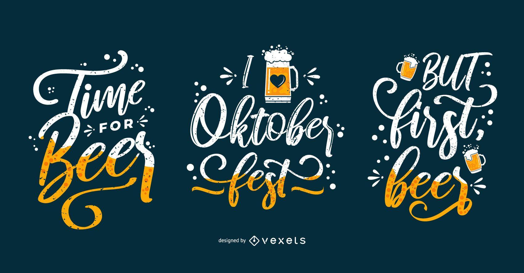 Oktoberfest drink lettering set