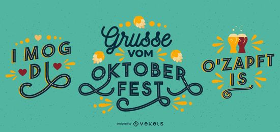 Oktober Fest Lettering Banner Set
