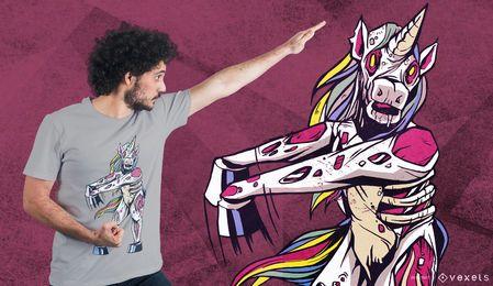 Diseño de camiseta de unicornio de seda espeluznante