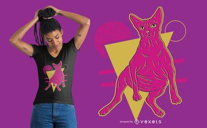 Projeto do t-shirt do gato do sphynx de néon