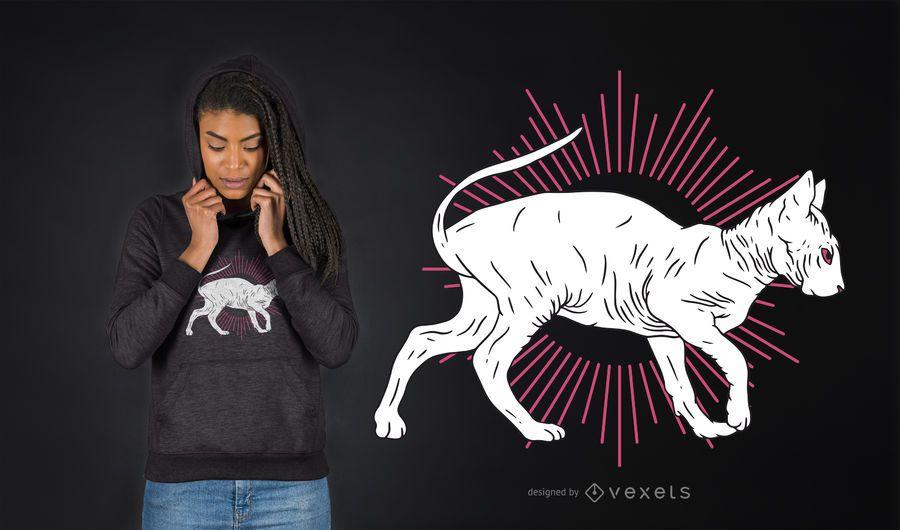 Diseño de camiseta de gato sphynx dibujado a mano