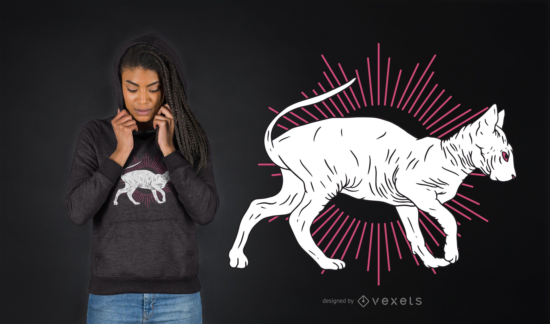 Hand gezeichnete Sphynx Katze T-Shirt Design