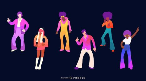 70s People Flat Design Character Set