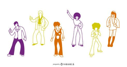 70s People Stroke Illustration Pack