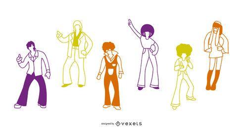 Paquete de ilustración de trazo de personas de los 70