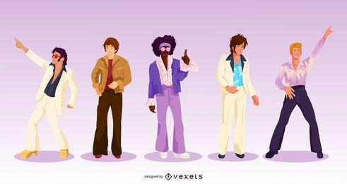 Pacote de personagens masculinos dos anos 70