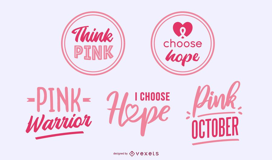 Breast Cancer Awareness Lettering Badges
