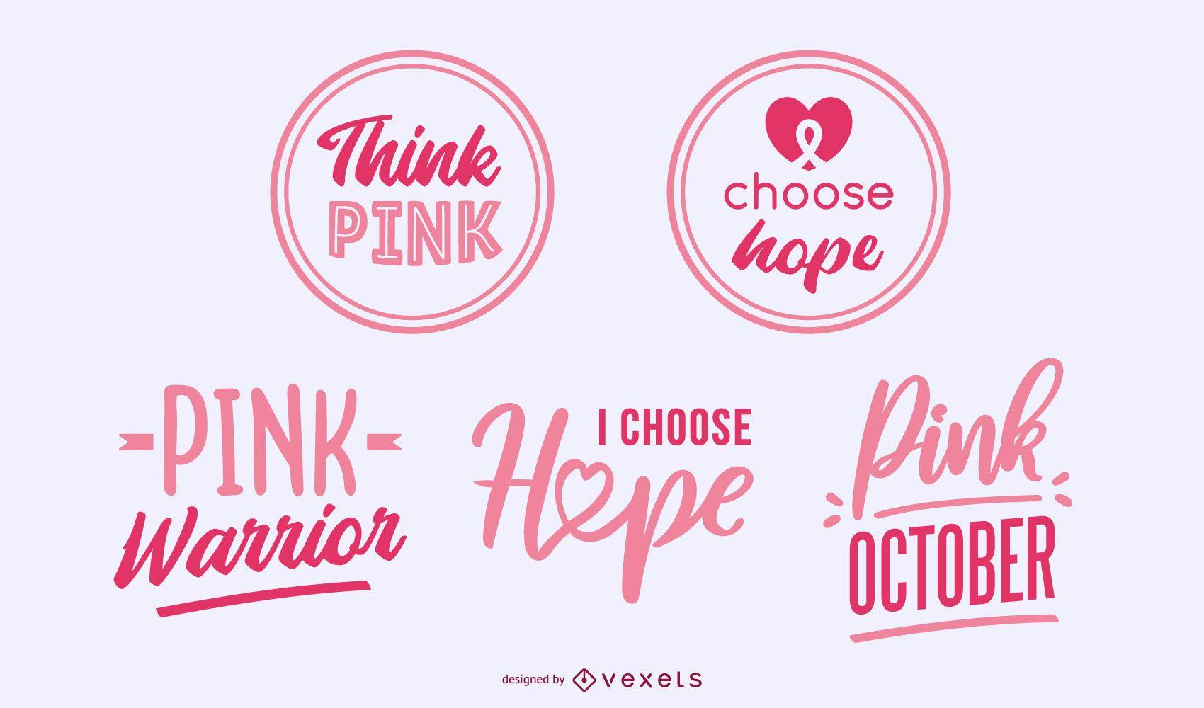 Insignias de letras de concienciación sobre el cáncer de mama