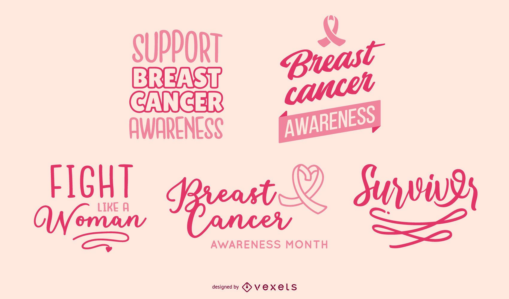 Breast Cancer Awareness Lettering Banners