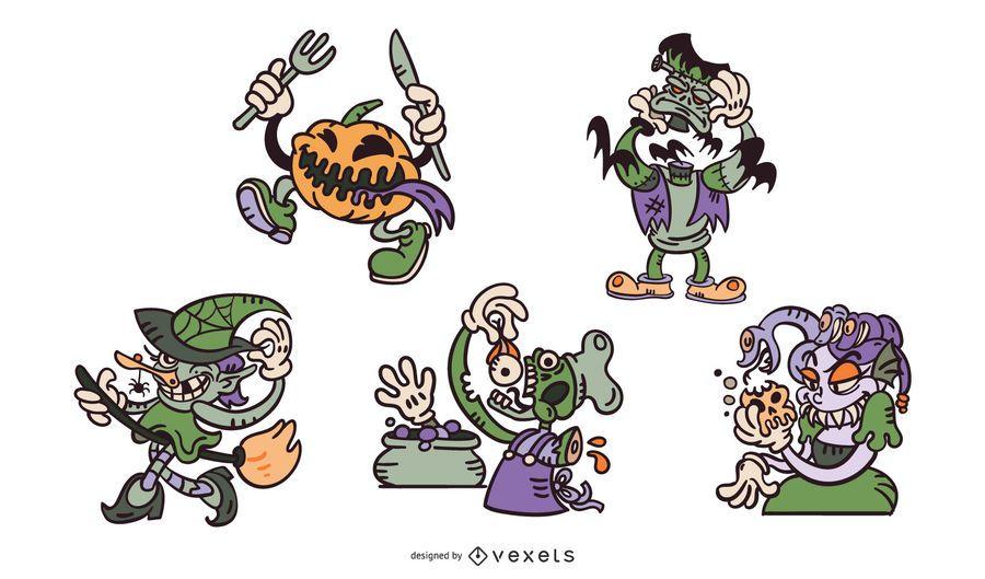 Halloween cartoon monsters set