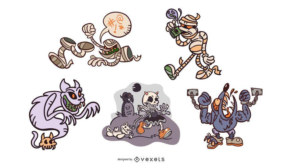 Creepy cartoon halloween monsters set