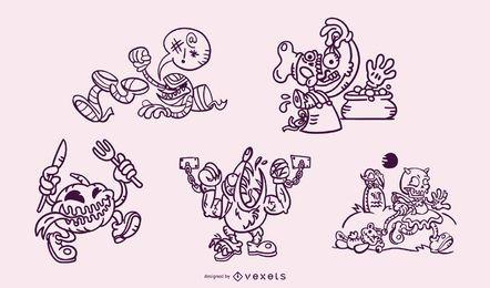 Conjunto de monstros de halloween de acidente vascular cerebral