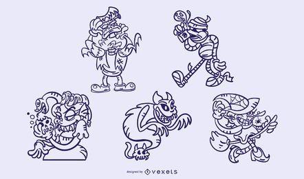 Conjunto de trazos de monstruos de Halloween