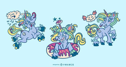 Conjunto de diseño de unicornio loco