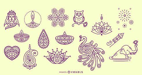 Diwali elementos dibujados a mano