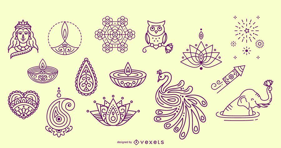 Elementos dibujados a mano diwali