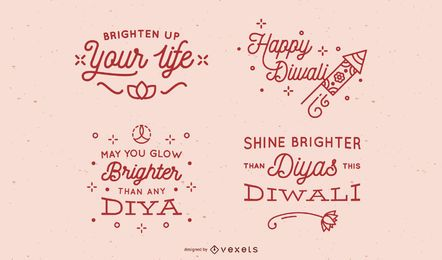 Diwali simple lettering set