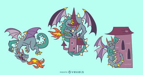Colección de personajes de dibujos animados de dragón