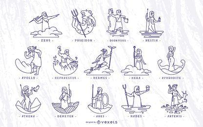 Conjunto de ilustração de deuses gregos