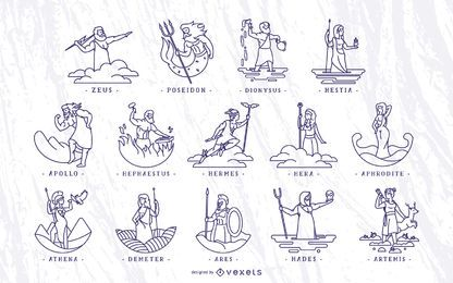 Griechische Götter Schlaganfall Illustration Set