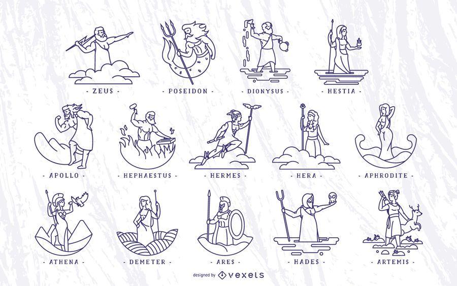 Conjunto de ilustración de trazo de dioses griegos
