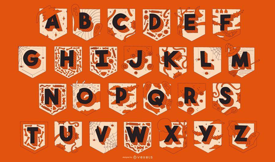 Conjunto de guirnaldas de alfabeto de Halloween