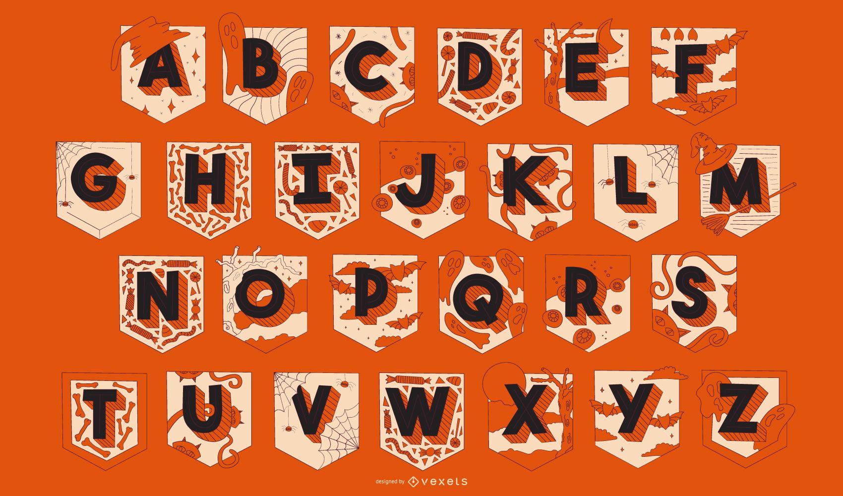 Halloween Alphabet Garland set