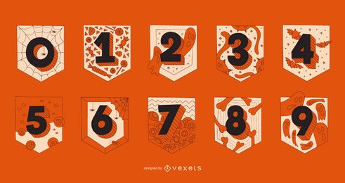 Halloween numbers garland set