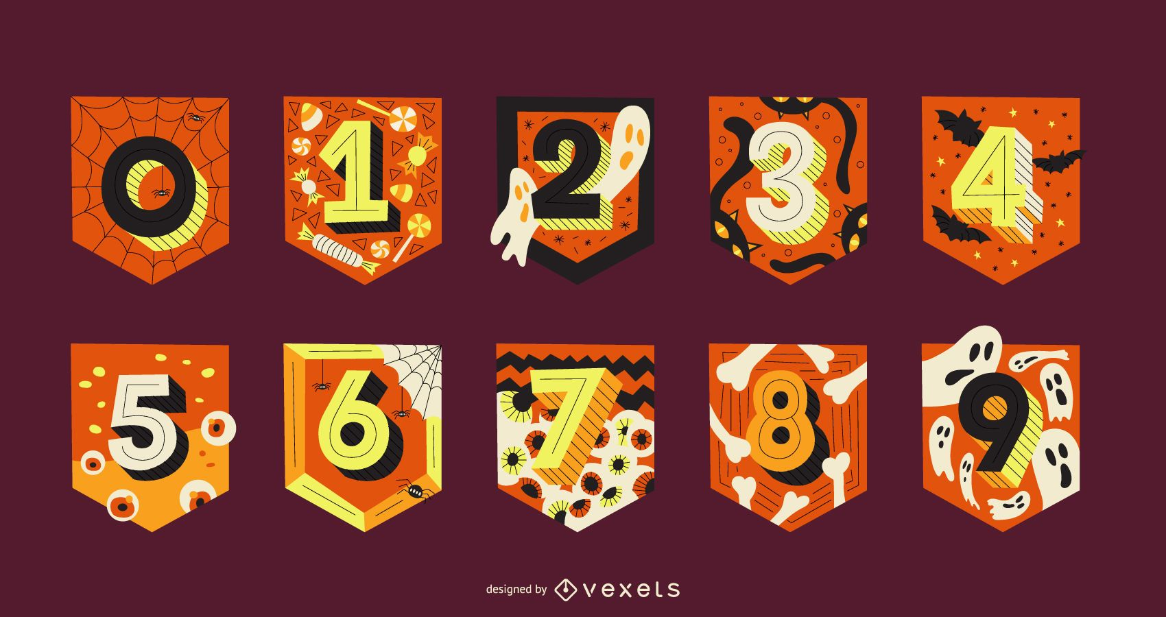 Paquete de letras de guirnaldas de números de Halloween