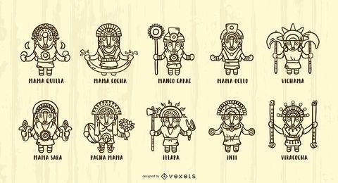 Paquete de ilustración de trazo de dioses incas